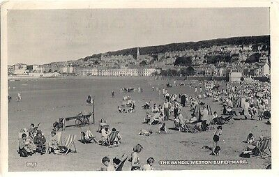 Scarce Old Postcard - The Sands - Weston Super Mare - Somerset 1960