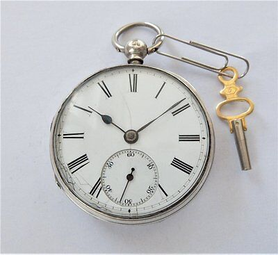 1865 Silver Cased Fusee Pocket Watch In Working Order