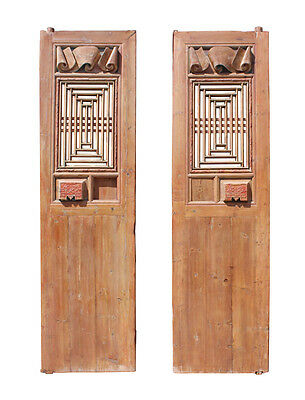 Chinese Vintage Dimensional Scroll Carving Tall Wood Door Panels cs2781