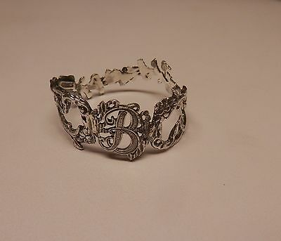 Napkin Ring with a ( Initial ( B )Rose Vine Design Sterling Silver