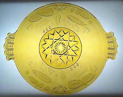 EAPG Wheat and Barley Amber Glass Bread Plate Bryce Brothers 1880s