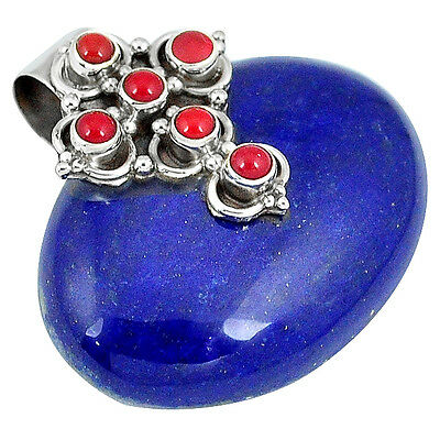 Natural Blue Lapis Coral 925 Sterling Silver Cross Pendant Jewelry J38721