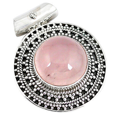 925 sterling silver natural pink rose quartz round pendant jewelry k43106