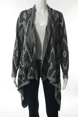 Heartloom Gray White Abstract Open Front Long Sleeve Cardigan Size Small