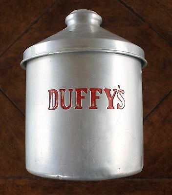 Rare DUFFY'S Soda Pop Fountain Canister Tin Aluminum Red Retro Vintage with Lid