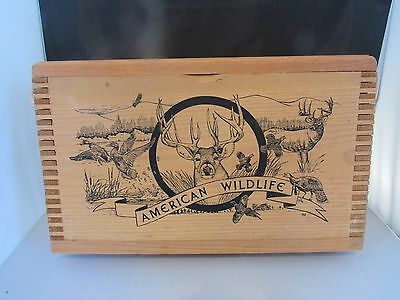 "American Wildlife By Evans, 16"" Dovetailed Wooden Ammo Box"