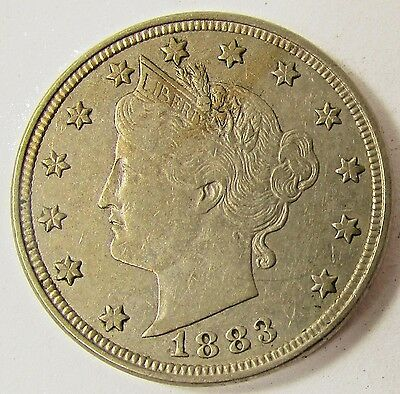1883 Liberty Head V Nickel Coin Au With Cents & Full Liberty On Headband