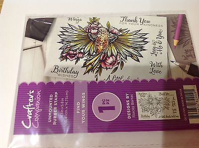 Crafters Companion ~ FIND YOUR WINGS~ Unmounted Rubber Stamps  ~  New ~ Free P/P