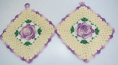 """PAIR Vintage POTHOLDER Embroidered PURPLE & GREEN FLORAL Crocheted Excellent 6"""""""