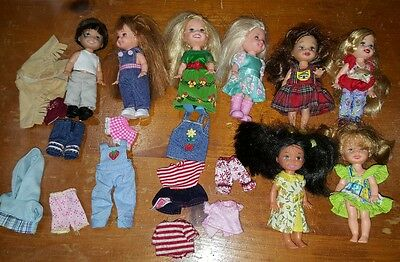 8 Mattel Barbie Tommy Kelly And Friends Dolls With Clothing Outfits Lot