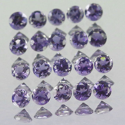 5 PIECES OF 3mm ROUND-FACET PURPLE/BLUE NATURAL AFRICAN IOLITE GEMSTONES £1 NR!