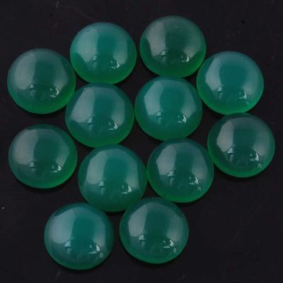 5 PIECES OF 6mm ROUND CABOCHON-CUT NATURAL AFRICAN DEEP FOREST-GREEN ONYX GEMS