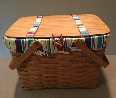 Longaberger 2006 Large Picnic Basket w/Sunny Day Liner & Protector Excellent!!
