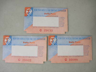 Lot Of 3 1964-1965 New York World's Fair Daily Pass Tickets