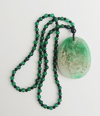 Antique Chinese Imperial Green Jade Jadeite Necklace and Dragon Pendant