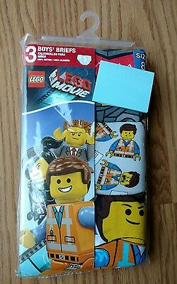 3 LEGO MOVIE Boy's Briefs Underwear Size 8 Yellow Pack Pairs NEW