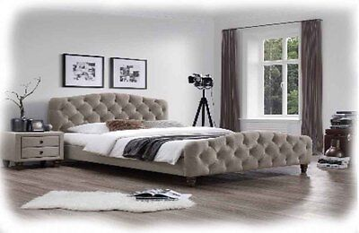 Flanders 3 Piece Beige Fabric Upholstered QUEEN Size Bed - BRAND NEW