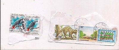 5 CAMEROON stamps on paper.