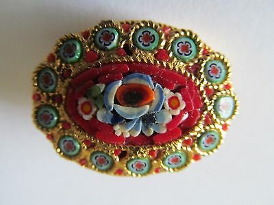 Vintage Italian Micro Mosaic Red - Turquoise & Blue Tones Designed Brooch Pin