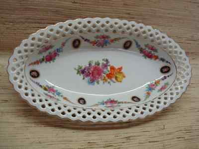 Old Schumann Bavaria Reticulated Oval Dish Roses Perfect Condition