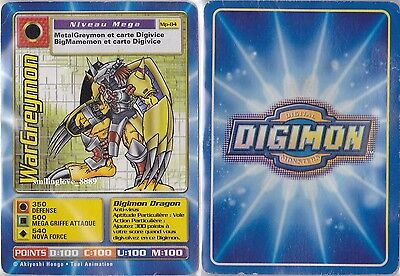 1 USED DAMAGED FRENCH DIGIMON CARD - Mp-84 WARGREYMON (Read Condition)