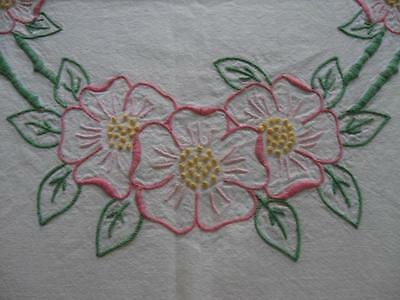 Vintage Antique Coverlet Embroidered Embroidery Covelet Bedspread-81x87