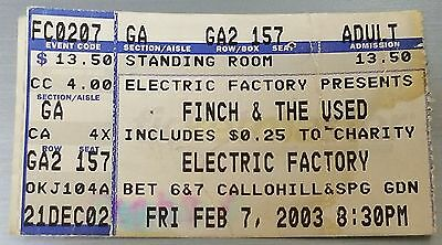 Finch & The Used Concert Stub - February 7, 2003 - Electic Factory Venue - L@@K!