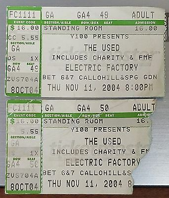 The Used Concert Stub x 2 - November 11, 2004 - Electric Factory Venue - L@@K!