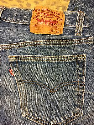 Vintage Men's LEVIS 501xx Faded Distressed Blue Jeans 33x34 Made In USA Awesome