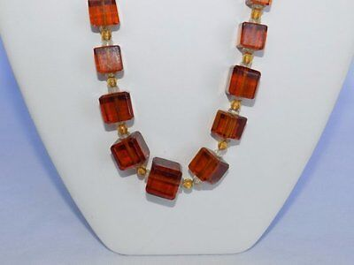 """1920-30's Czech Art Deco Amber Hue Heavy Crystal Sq Bead 26"""" Necklace"""
