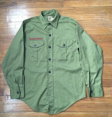 Youth Large Army Green Long Sleeve Shirt BSA Boy Scout of America