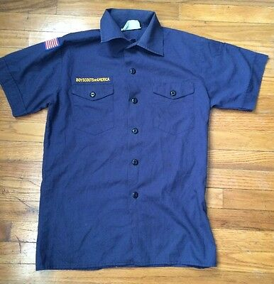 Youth Large Blue Short Sleeve Shirt Cub Scout BSA Boy Scout of America