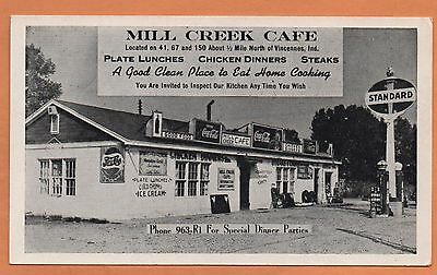 IN Indiana Vincennes Gas Station Meadow Gold Ice Cream Coca Cola Cafe Postcard