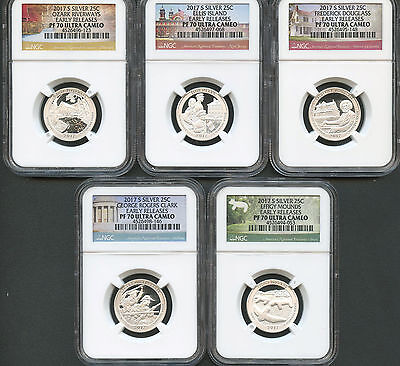 2017 S Silver America The Beautiful Quarter Set Early Releases NGC PF70 U.C.