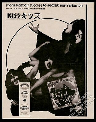 1974 Kiss photo Hotter Than Hell album release vintage print ad