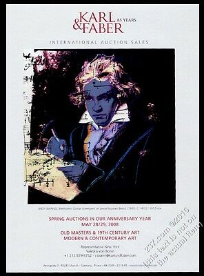 1988 Beethoven portrait by Andy Warhol Karl & Faber vintage print ad