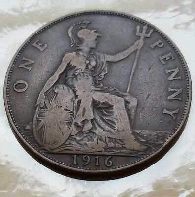 1916 King George V - British One Penny Coin