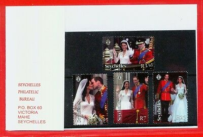 Prince William Princess Kate royal wedding 4 stamp set Seychelles stamps great