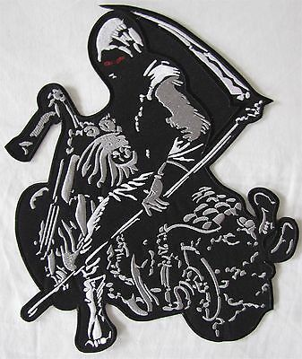 Rare Large Grim Reaper Skeleton Motorcycle Biker Embroidered Sew Badge Patch