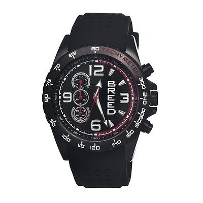 Breed Mens 4405 Touring Watch - Black Silicone Band,Black Bezel,Strap : BRD4405