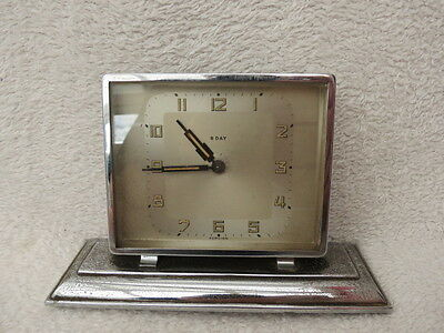 Vintage Art Deco 8 Day Chrome Desk Clock For Spares Or Repair