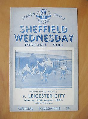 SHEFFIELD WEDNESDAY v LEICESTER CITY 1951/1952 *VG Condition Football Programme*