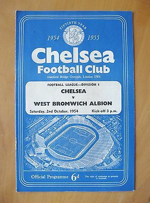 CHELSEA v WEST BROMWICH ALBION 1954/1955 Excellent Condition Football Programme