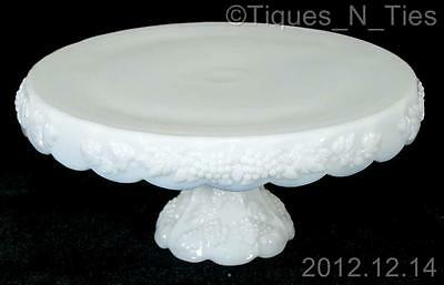 Vintage Westmoreland Paneled Grape Round Skirted Cake Stand Plate Milk Glass (FF