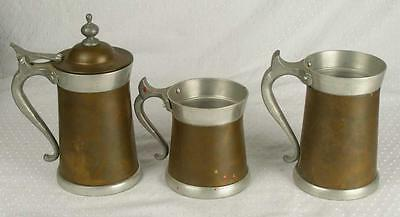 Set 3 Collectible Vintage Copper Tone Lazar Handcrafted Beer Steins (HH)