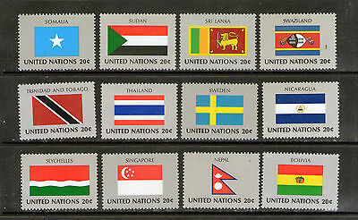 """United Nations """"Flags"""" stamps.    M.N.H.    49p ask."""
