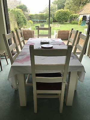Chunky Farmhouse Style 6-8 Seater Dining Set, Collection Near Stamford Lincs