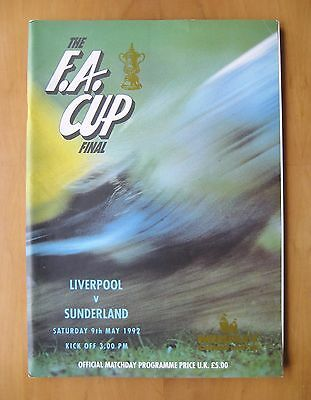 1992 FA Cup Final LIVERPOOL v SUNDERLAND *VG Condition Football Programme*