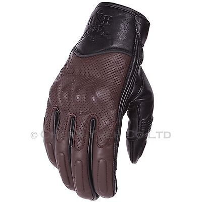 Black/Brown Vented Leather Motorcycle Sports Riding Gloves Medium M & Carabiner
