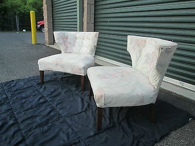 Pair Of  Mid Century Modern~Retro Low Slipper~Horn Style Chairs GREYHOUND SHIP
